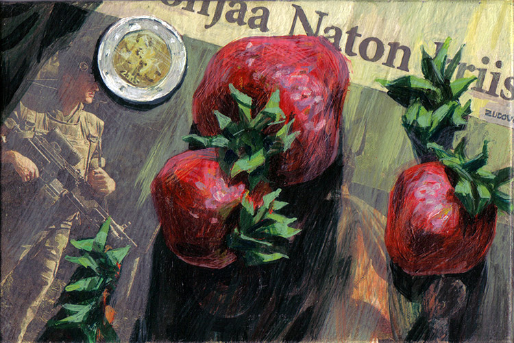 Dmitri Zudov: Berries of Union 25x35 mixed media on canvas, 2005